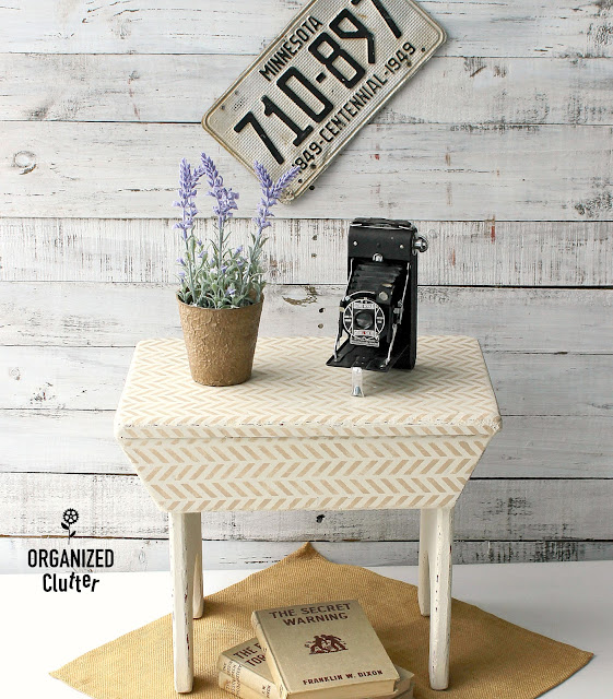 Herringbone Stenciled Wooden Stool