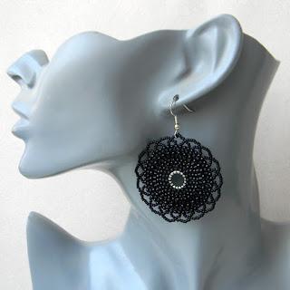 купить черные украшения из бисера сережки круглые анабель