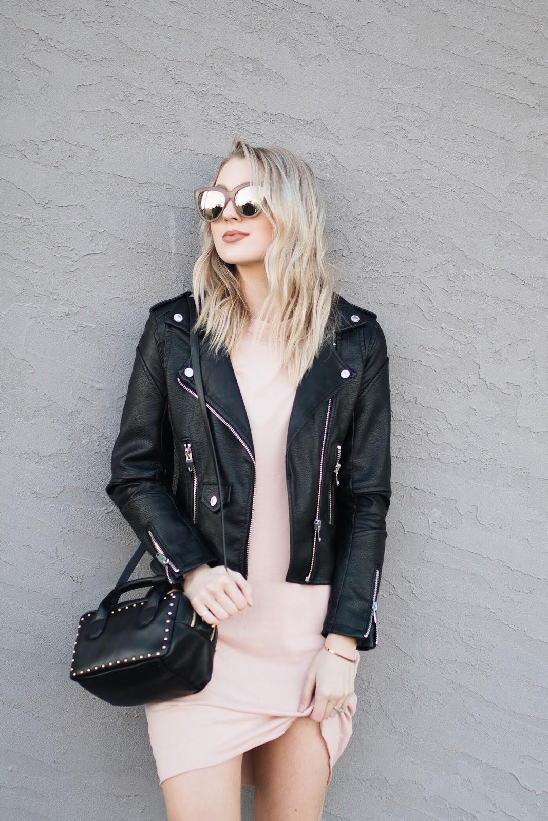 Faux black leather jacket on sale