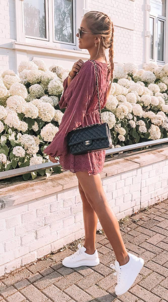 fashionable outfit with white sneakers : black bag and dress