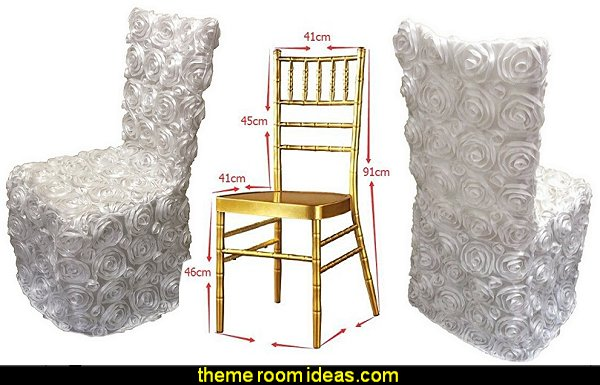 White Rosette Banquet Dining Chair Cover Slipcovers for Wedding