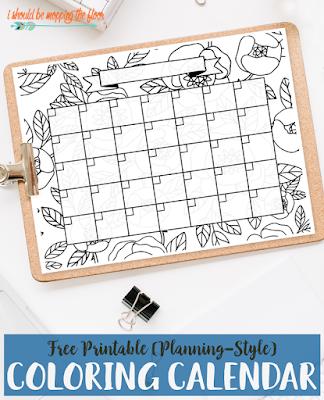 blank calendar to color