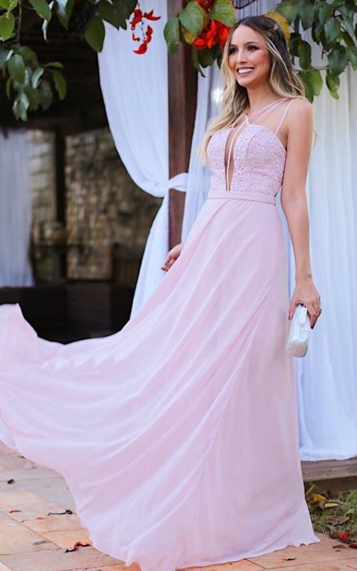 vestido esvoaçante longo rosa