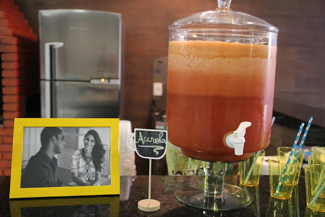 chá bar, chá de panela, azul e amarelo, decoração, suqueira