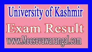 University of Kashmir BA LLB Vth Sem Jan 2016 Exam Results