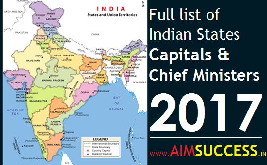 Full List Of Indian States Capitals Their Chief Ministers