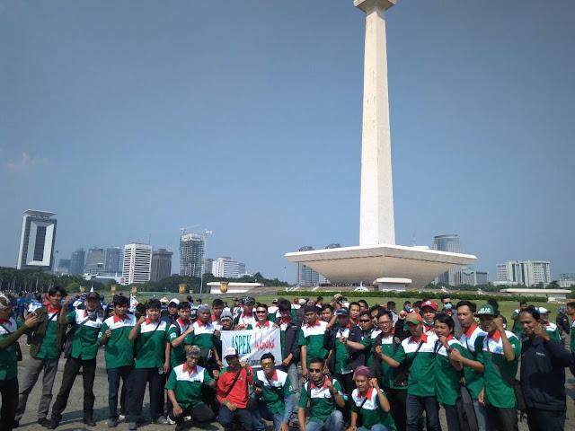 Serikat Pekerja Linfox Saat peringatan May Day 2018 di Jakarta