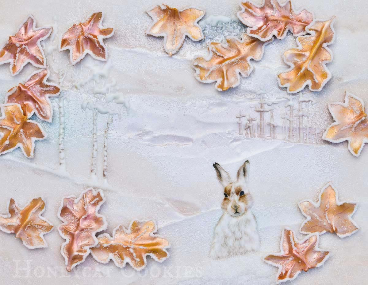 Fondant icing and lustre dust leaves, handpainted hare