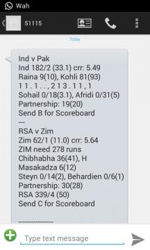 free cricket score sms updates