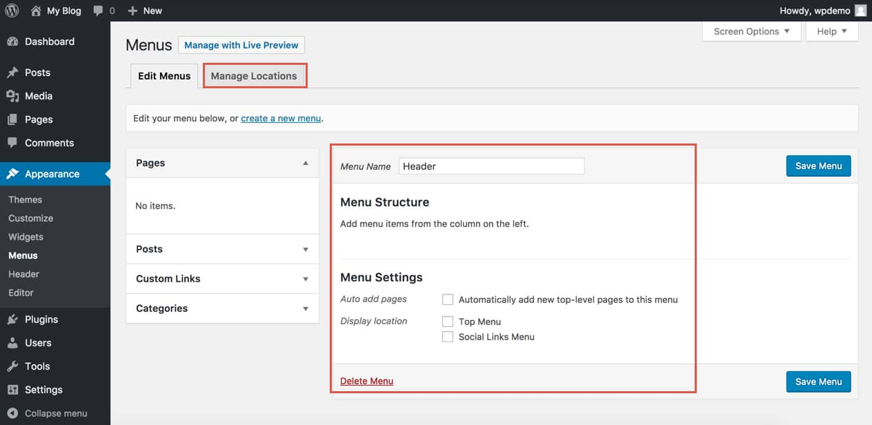 Menu settings in WordPress