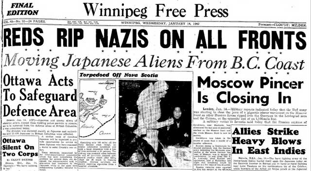 Winnipeg Free Press, 14 January 1942 worldwartwo.filminspector.com