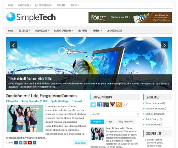 Columns Blogger Template for Tech Blogs Free Download SimpleTech Blogger Template