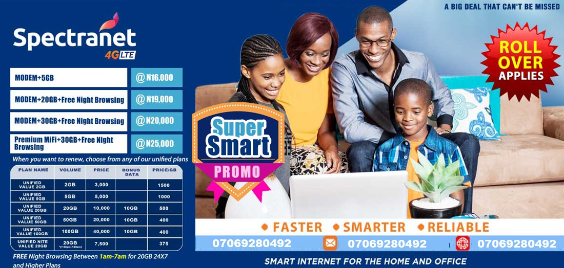 HOME : SPECTRANET 4G LTE: FASTEST INTERNET SERVICE