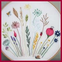 Cuadro floral bordado