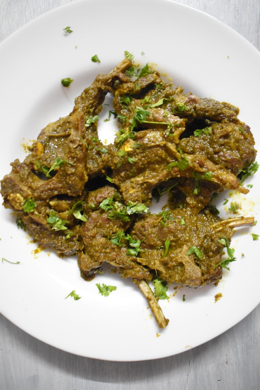 easy hariyali mutton chops