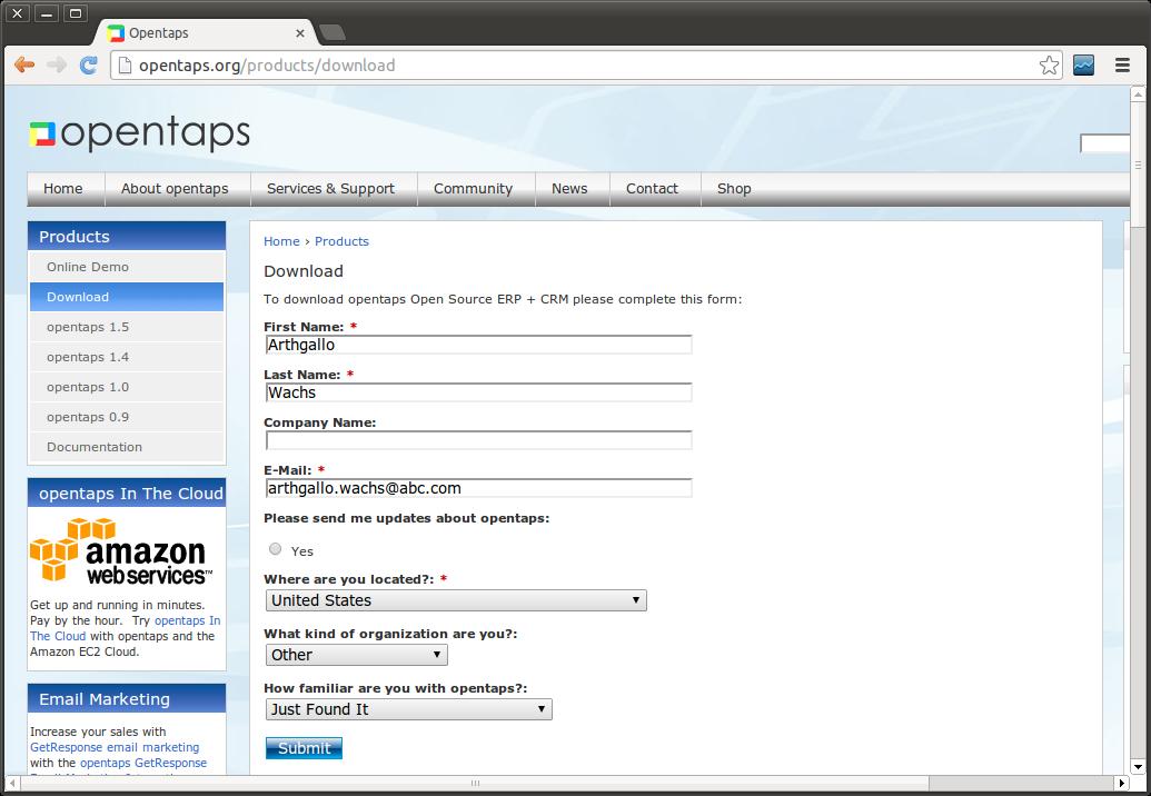 opentaps 1.5.0