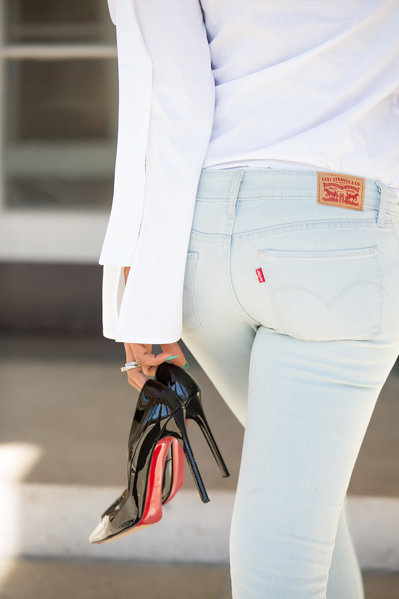 levis 711 skinny jeans,off the shoulder top, christian louboutin, www.jadore-fashion.com