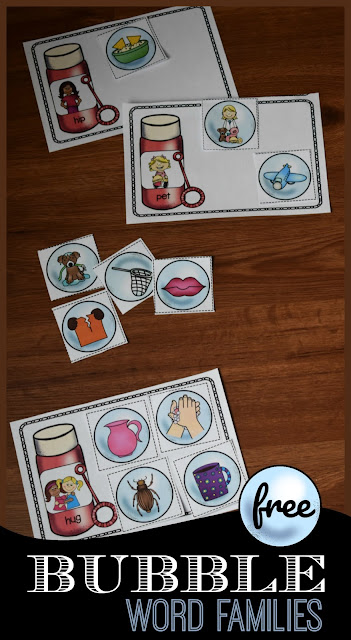 Bubble Word Families - this free printable word families activity is such a fun activity for preschool, kindergarten, and first grade kids to practice word families, reading, phonics and more. This is great for summer learning, literacy centers, and more.