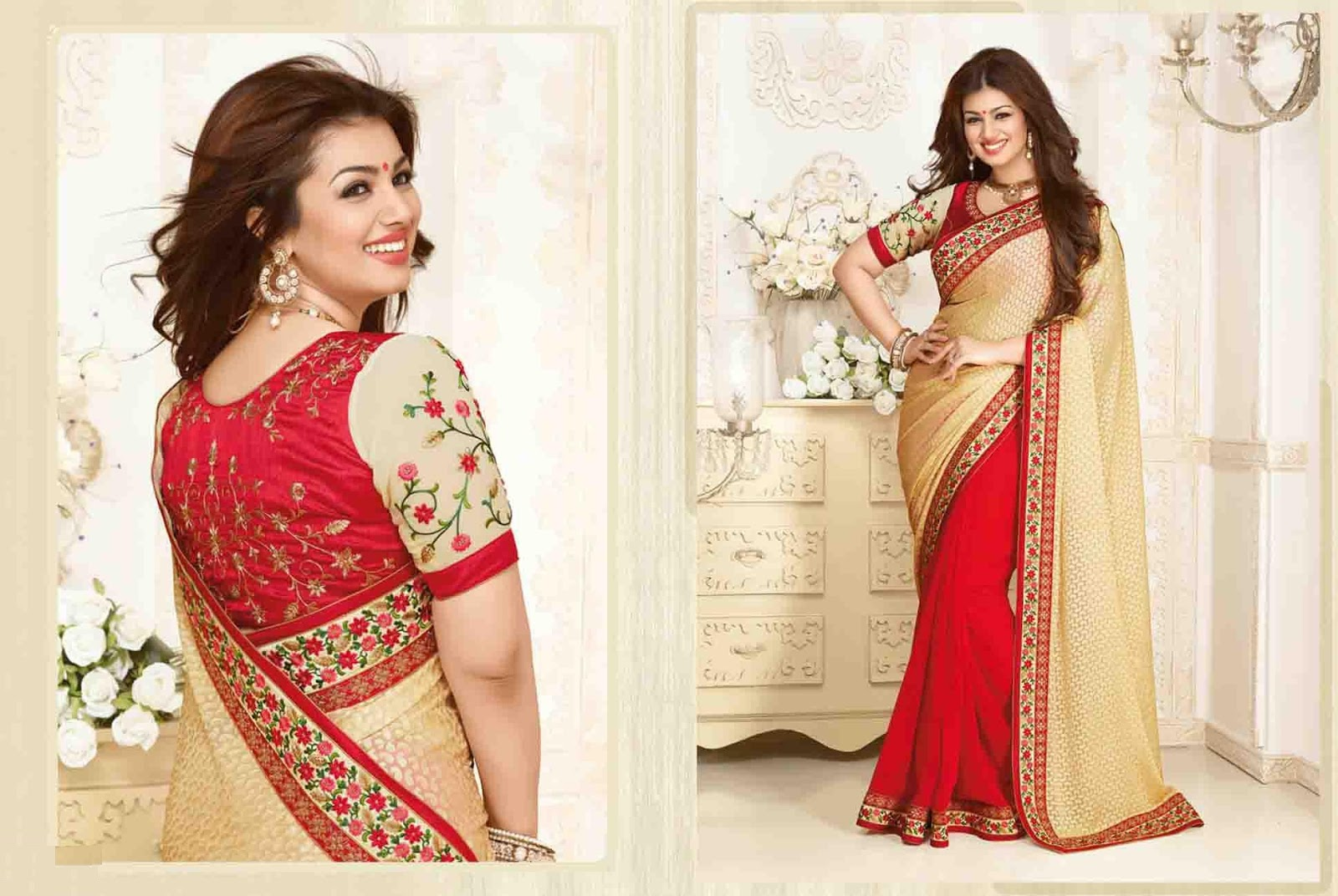 Red & Cream Brasso Party Wear Saree With Raw Silk Blouse