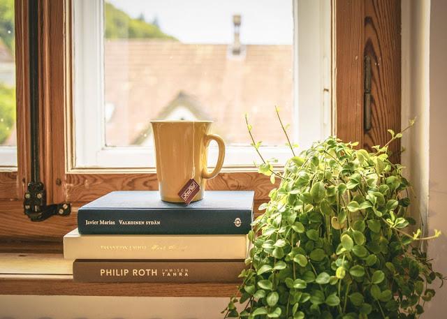 Libros frente a ventana, con taza de té encima y planta al lado.