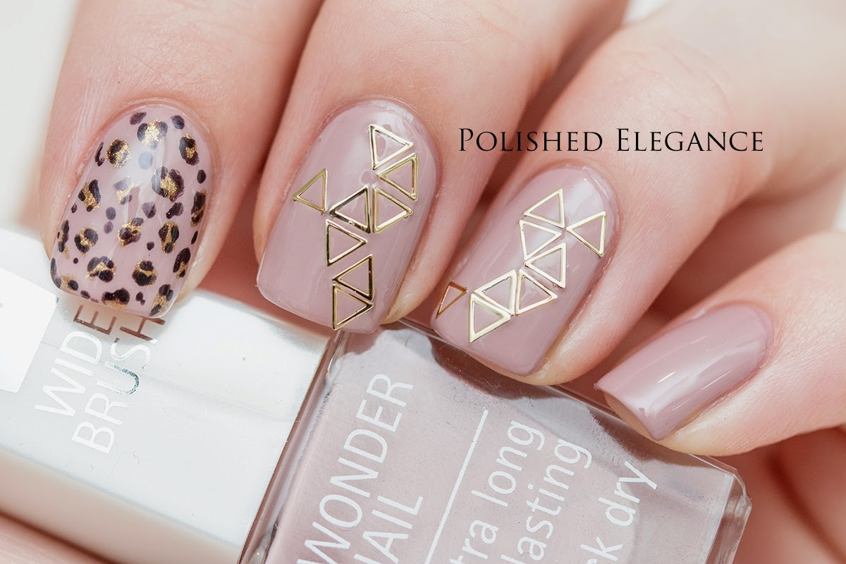 nude leopard nail art triangle nail confetti from Bundle Monster nail