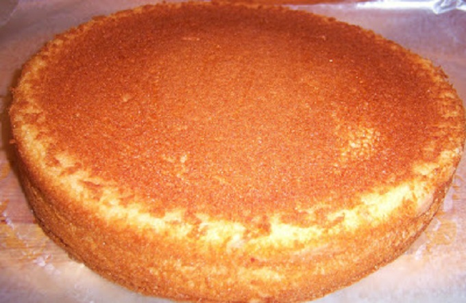 Golden yellow cake just baked