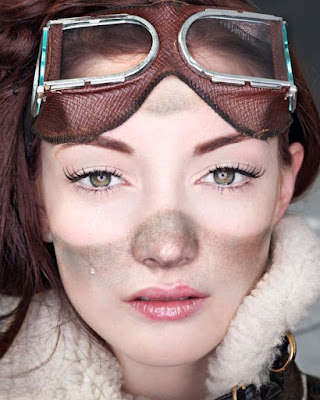 A diy beauty tutorial for steampunk and dieselpunk costumes and cosplay. How to get dark dirt and soot marks around your goggles using makeup