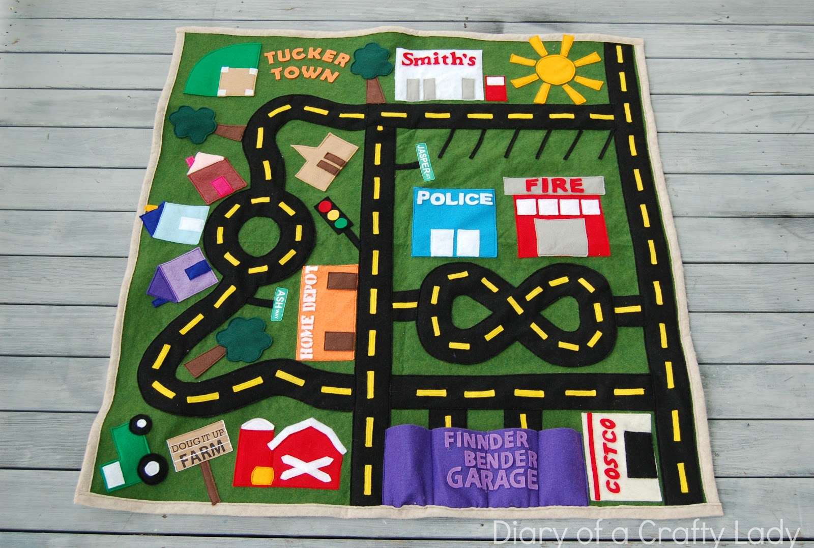 Fabric Roads For Toy Cars : Diary of a crafty lady felt toy car mat