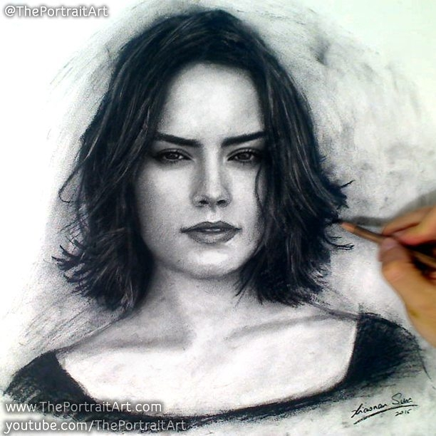 09-Daisy-Ridley-Xiaonan-Pencil-Charcoal-and-Pastel-Portrait-Drawings-www-designstack-co