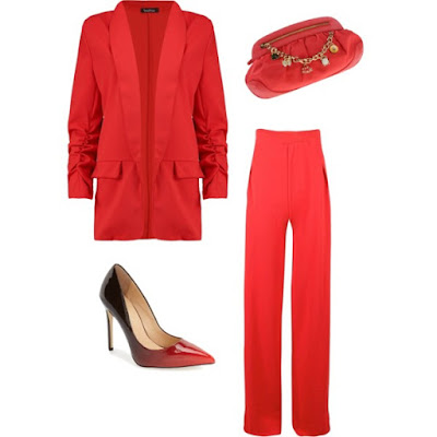Cardi B red suit look for less