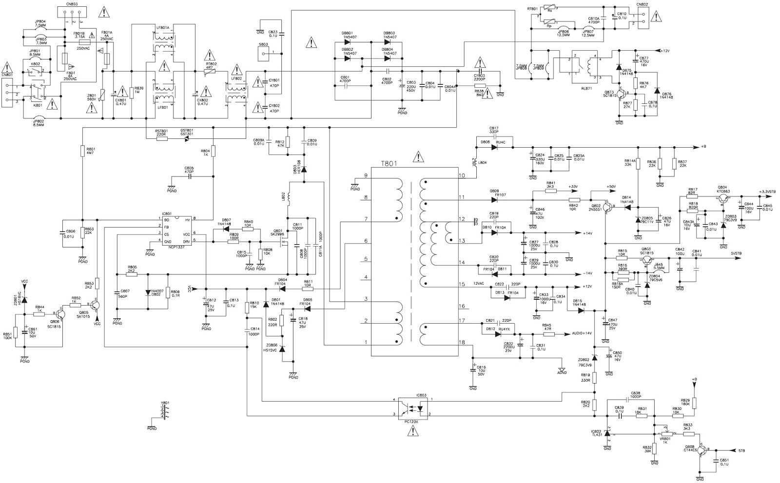 Tcl Pwe 2610 Lcd Tv And Tcl21k9us Crt Smps Circuit Diagrams Diagram Click On The Pictures To Magnify