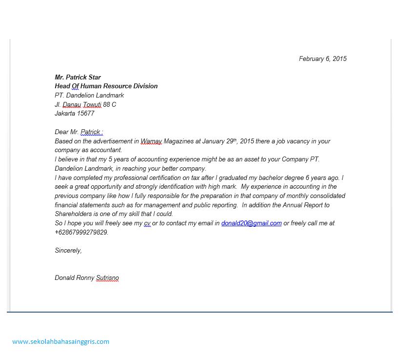 surat lamarankerja akuntansidalam bahasa inggris dan artinya