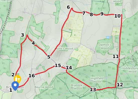 Picture of a map for Walk 28 The Brickendon Loop