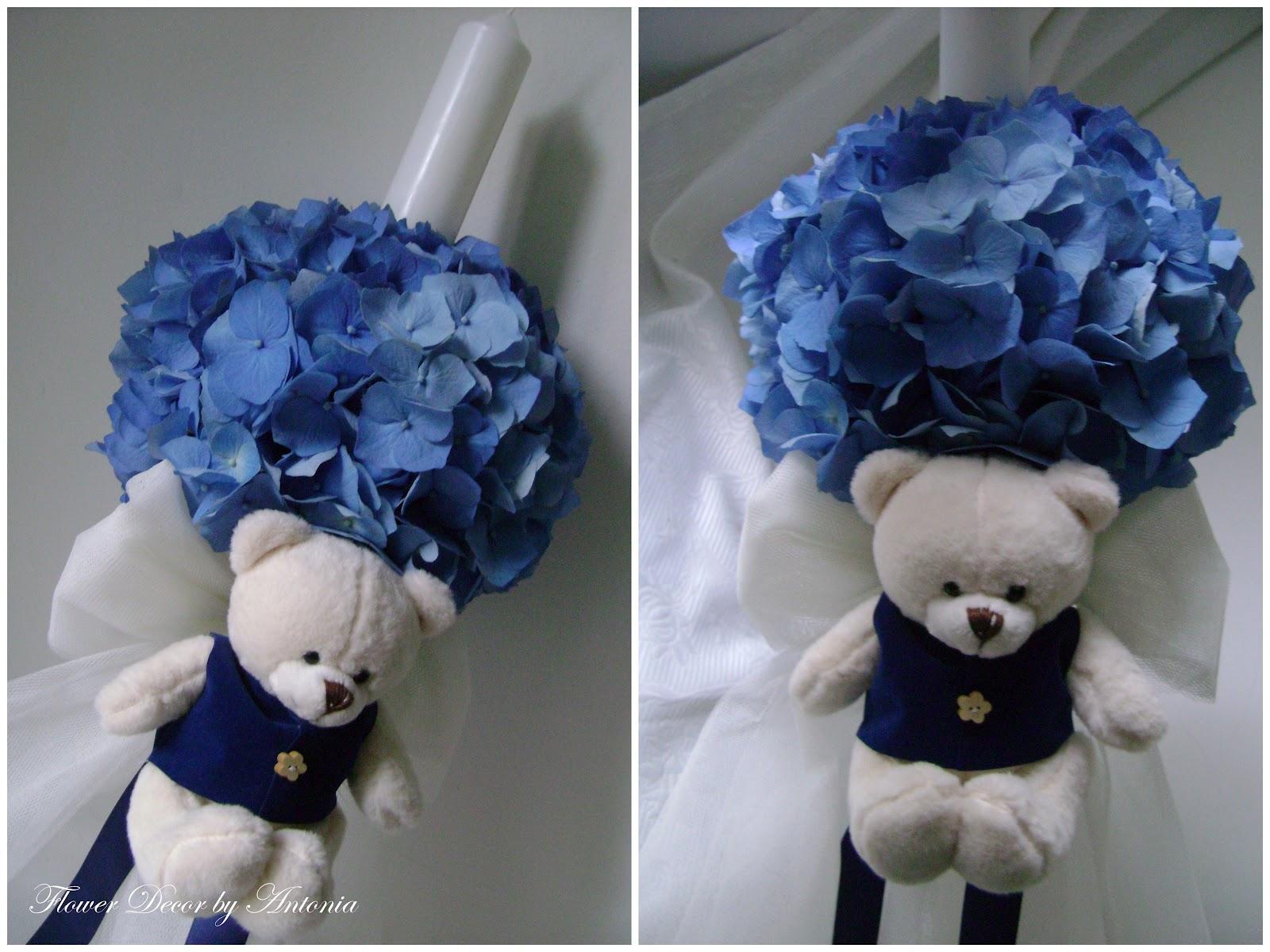 Flower Decor Mini Lumanare Botez Darius Alb Albastru