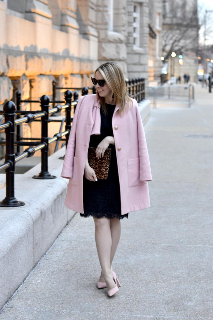 black-lace-dress-pink-coat-outfit