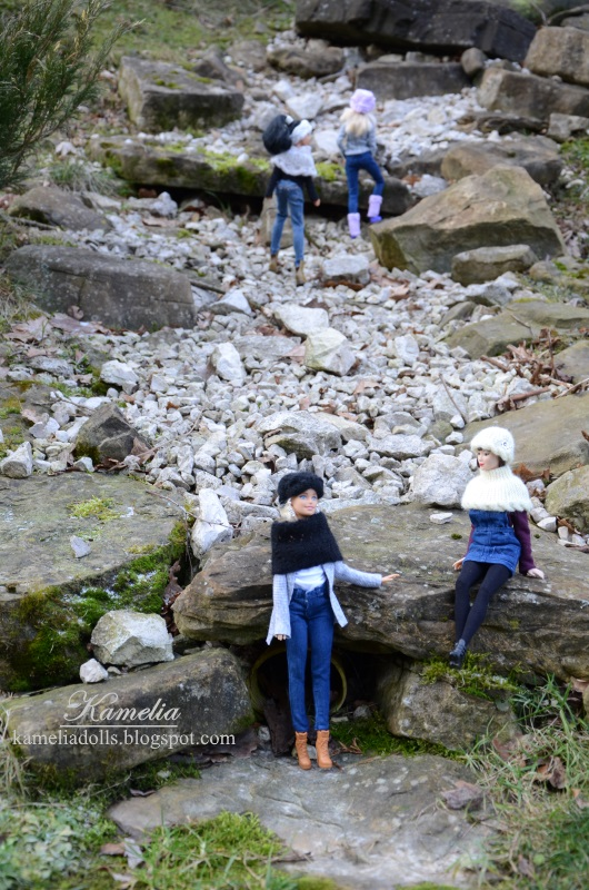 Dolls on a hike.