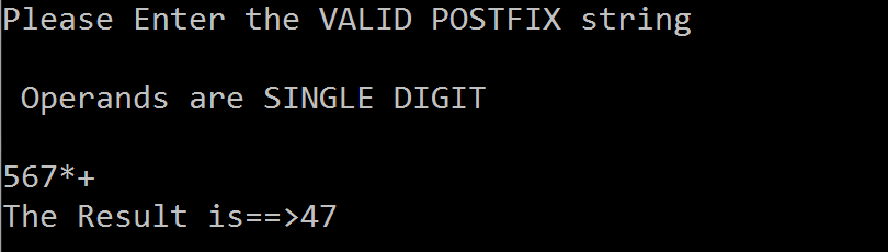 C code to eveluate Postfix Expression