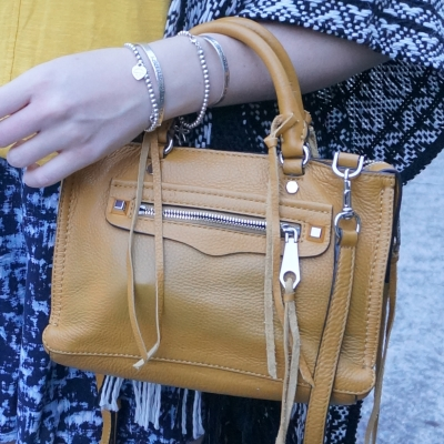 silver bracelet stack, Rebecca Minkoff micro Regan satchel in Harvest Gold | away from the blue
