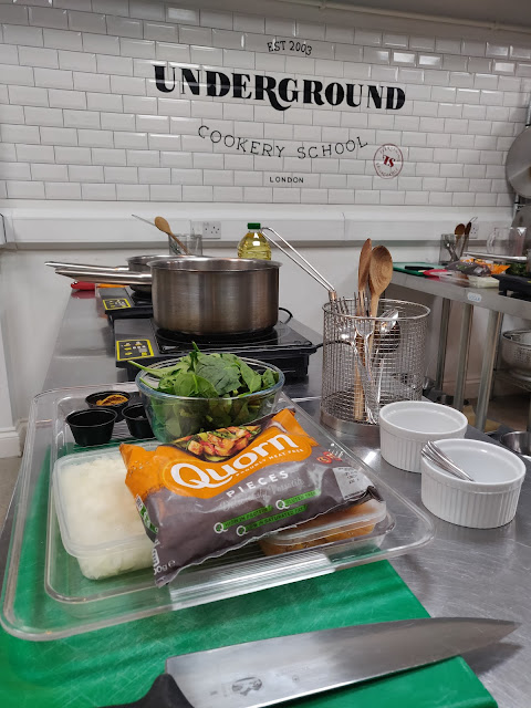 Quorn cookalong at the Underground Cookery School, london
