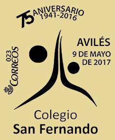 Matasellos conmemorativo del 75 aniversario del Colegio San Fernando de Avilés