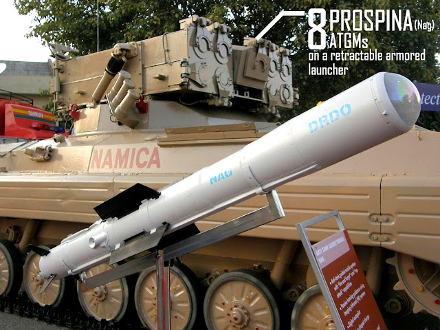 Image Attribute: Prospina (earlier known as Nag) ATGM displayed along with NAMICA (Nag Missile Carrier) with 8 missiles retractable armored launcher configuration at DefExpo 2008. Source: Wikipedia