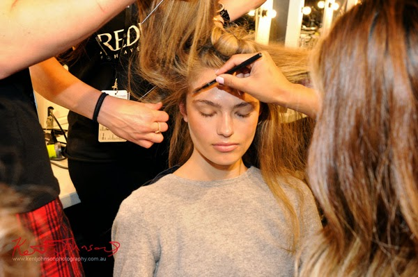 A model in H&MU Backstage for Watson x Watson, MBFWA. Photograph by Kent Johnson.