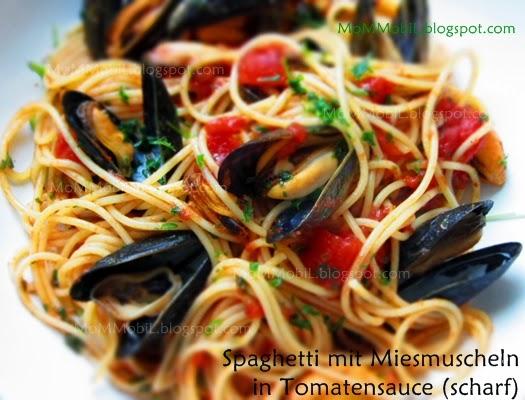 mommobil spaghetti mit miesmuscheln in tomatensauce scharf. Black Bedroom Furniture Sets. Home Design Ideas