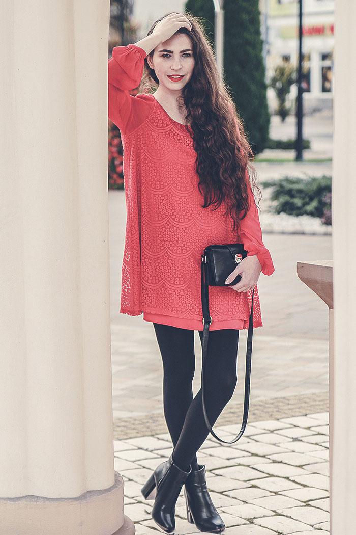 red dress, deezee boots shoes red lips golden rose second hand dress