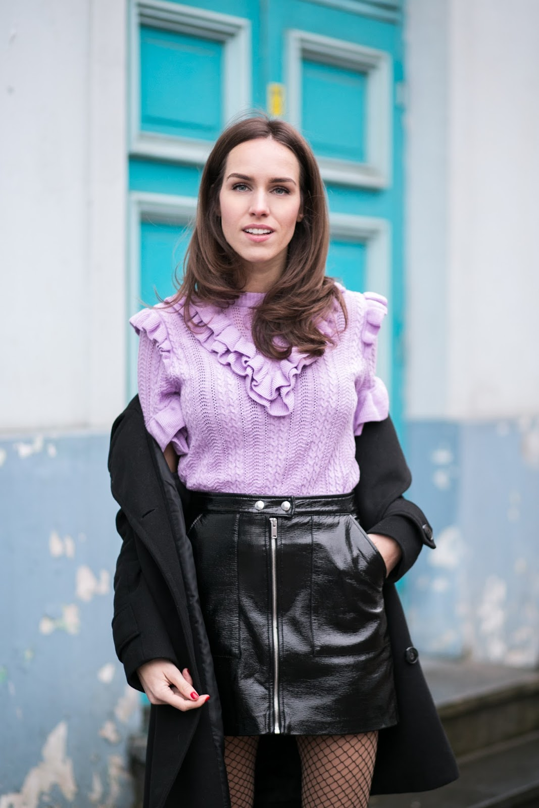 patent skirt ruffle top outfit