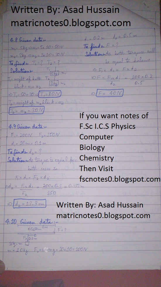 Matric 9th Physics Notes Chapter 5 Numerical Asad Hussain 1