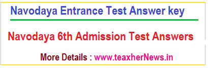 Navodaya Exam Key Entrance Test Answers 2017 Navodaya Results