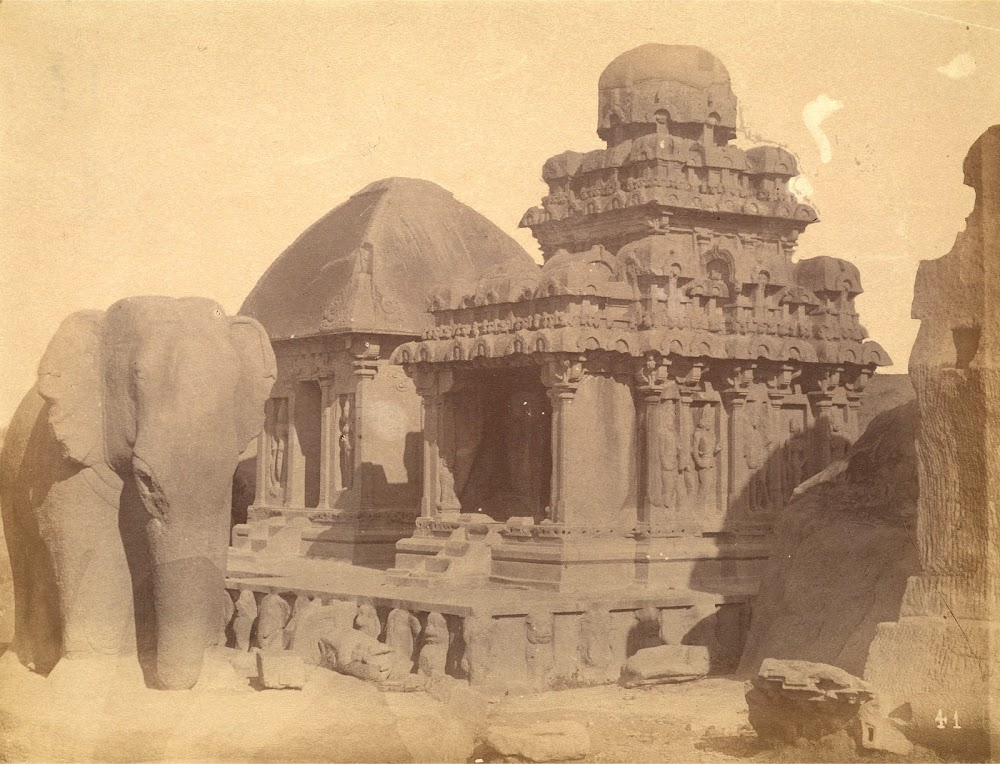 View from the South-West of the Arjuna Ratha and the Draupadi Ratha, Mamallapuram, Tamil Nadu - c.1885