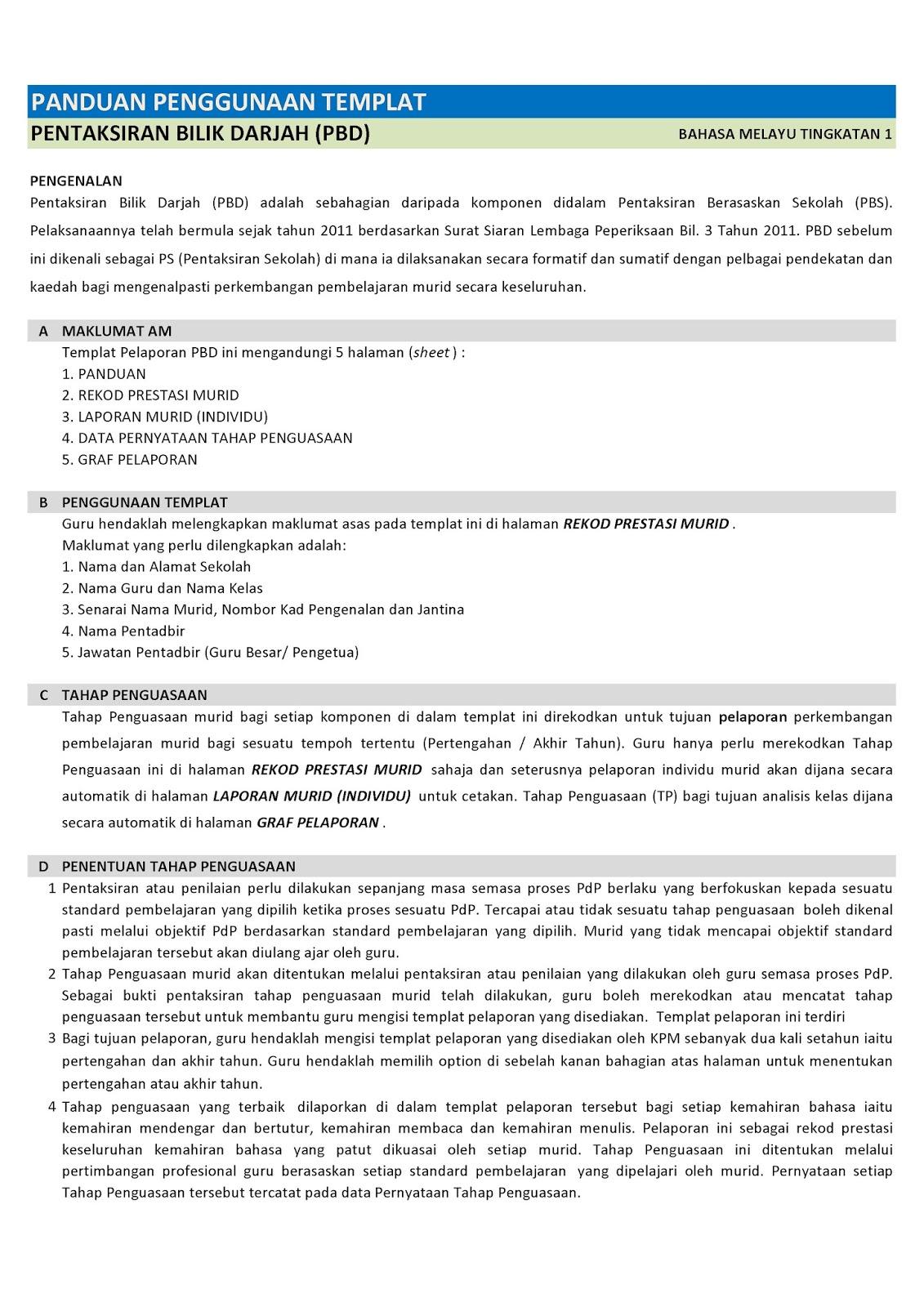 Panduan Pengisian Templat Pelaporan Pentaksiran Bilik Darjah Pbd