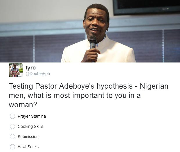 Pastor Adeboye: What feature is most important in a woman? Nigerian men's reply will shock you